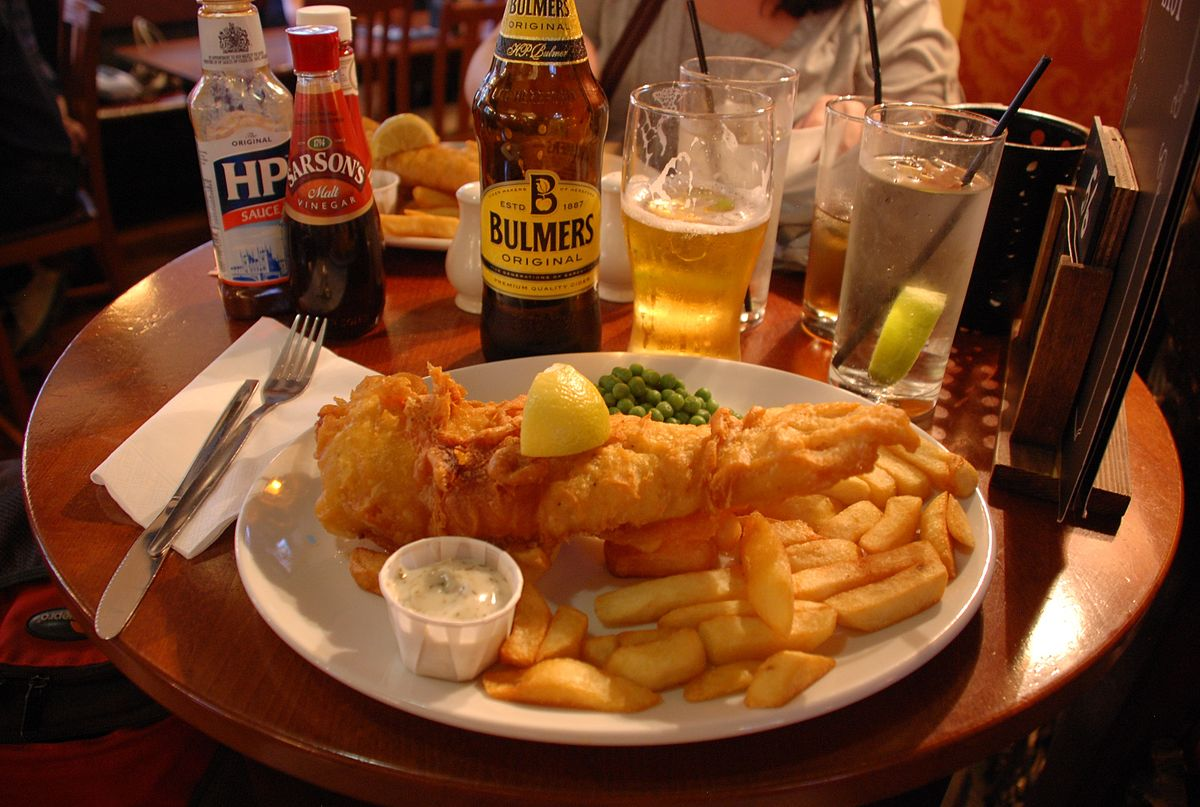 Hungry in the UK? Grab a plate of fish and chips ... photo by CC user Edwardwexler on wikimedia commons
