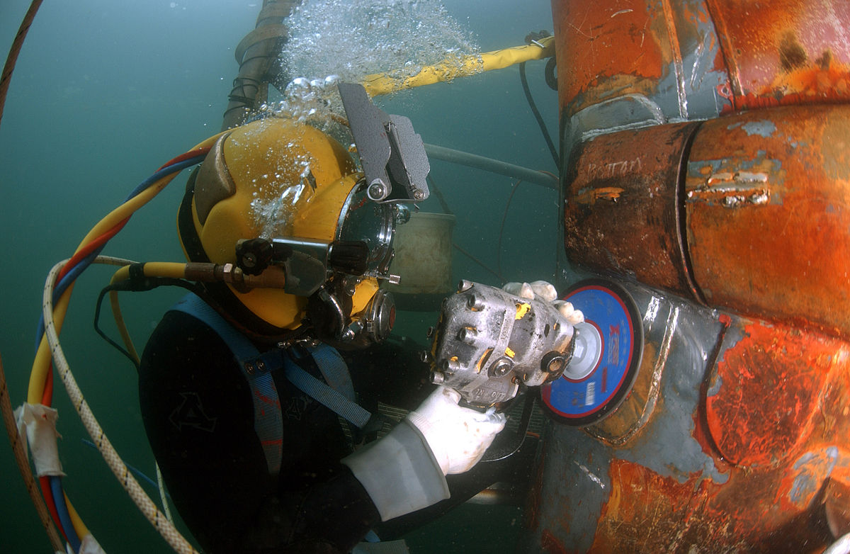 Underwater Commercial Diving is essential to industrial safety these days ... photo by CC user Andrew McKaskle via US Navy (public domain)